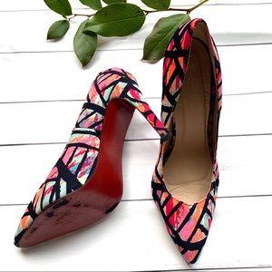 Colorful neon stiletto red bottoms shoes EU 39